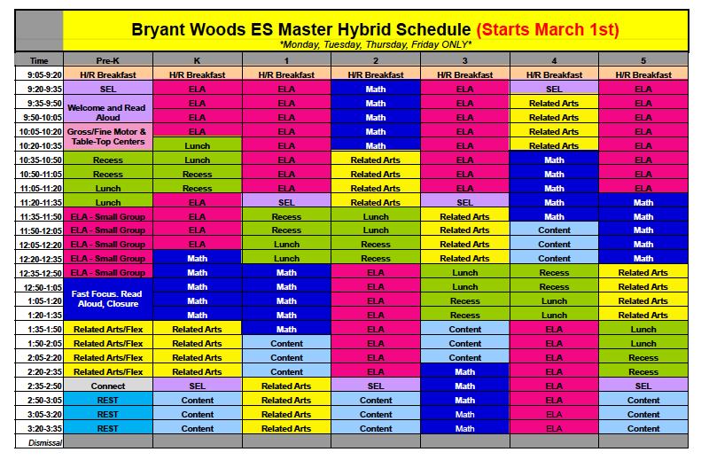 Master Hybrid Schedule